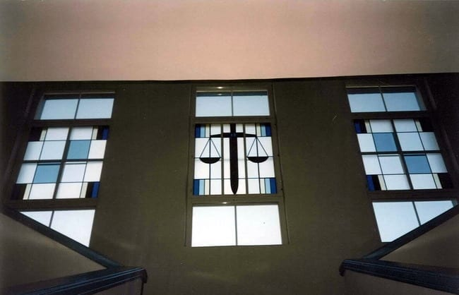 Jõhvi kohtumaja vitraazid (teostus koos M.Saarega) 1995 Jõhvi, Eesti  <br/>Stainglass windows for Jõhvi Courthouse (with M.Saare) 1995 - Jõhvi, Estonia