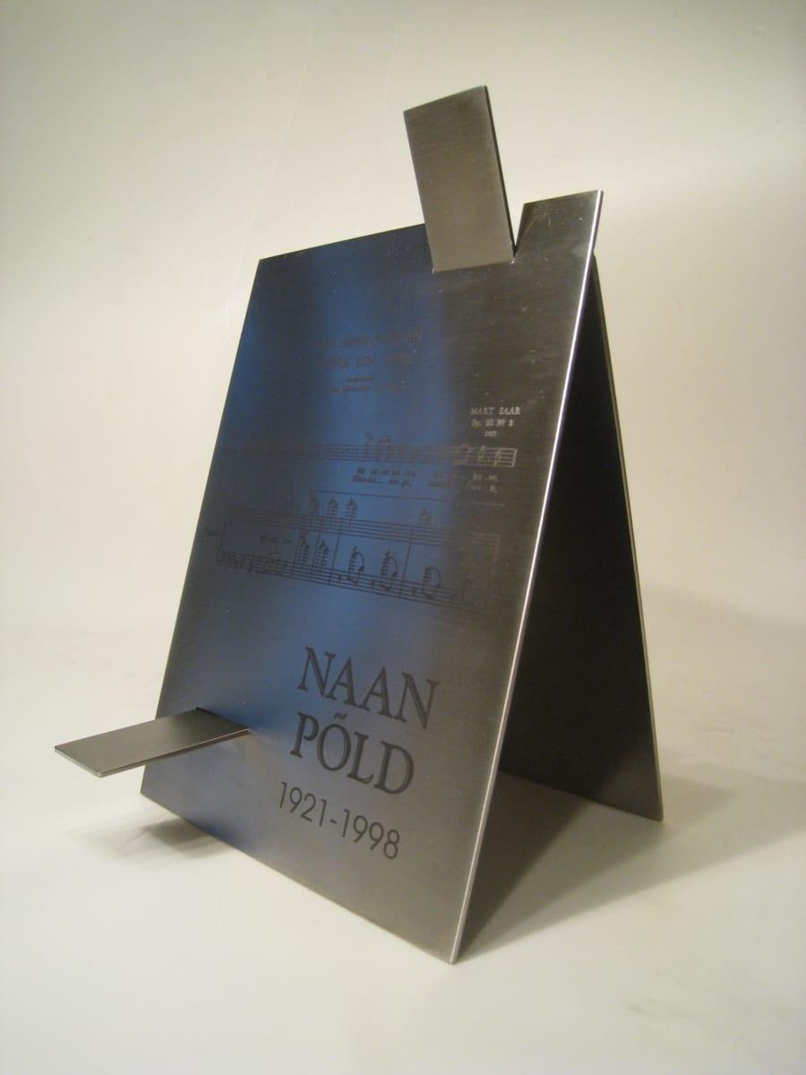 NAAN PÕLLU nim. auhind Estonia Seltsile 2008 lasergraveering roostevabal terasel  <br/>N.Põld award for Estonia Selts 2008 lazerengraving on stainless steel