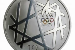 EV HÕBEDAST MEENEMÜNT pühendatud Pekingi suveolümpiamängudele 2008 - vermitud Soomes  <br/>A SILVER COIN of Estonian Republic, dedicated to the Olympic games in Beijing 2008 - stamped in Finland
