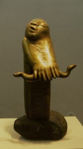 """USSISÕNAD"" 1989 pronks, kivi  <br/>""WORDS of SNAKE"" 1989 bronze, stone"