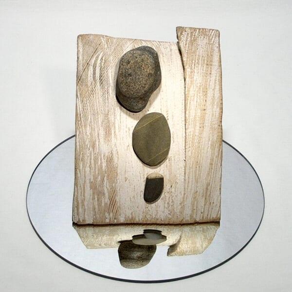 """""""KIVI TEEKOND"""" 2001 puu, klaas, peegel <br/>""""JOURNEY of the STONE"""" 2001 wood, glass, mirrow"""