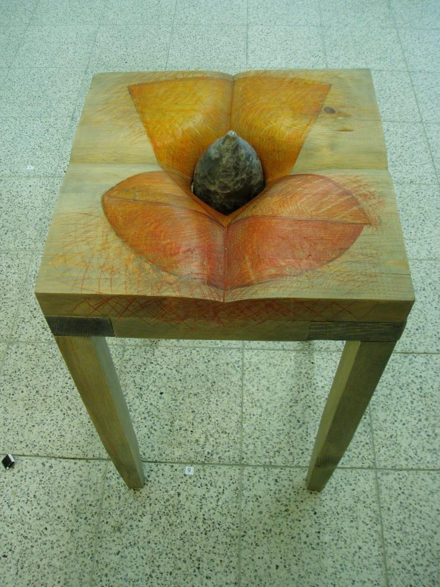 """""""VÄIKE HALL LAUD"""" 2005 puu,klaas,joonistus <br/>""""A LITTLE GREYTABLE"""" 2005 wood,glass,drawing"""