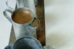 """VALAMA/VALADA/VALAN"" 2003 metall, vaha,pronks,tina,vesi,puu <br/>""POURING OUT"" 2003 metal, wax, bronze, water, wood, lead"