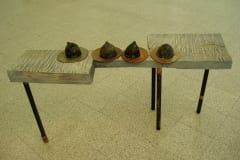 """LAUD 4 TISSIGA"" 2005 puu,metall,klaas  <br/> ""A TABLE with 4 TITS"" 2005 wood, metal, glass"