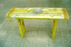 """""""SUUR VALGE LAUD"""" 2005 puu,klaas,joonistus<br/> """"A BIG WHITE TABLE"""" 2005 wood,glass,drawing"""