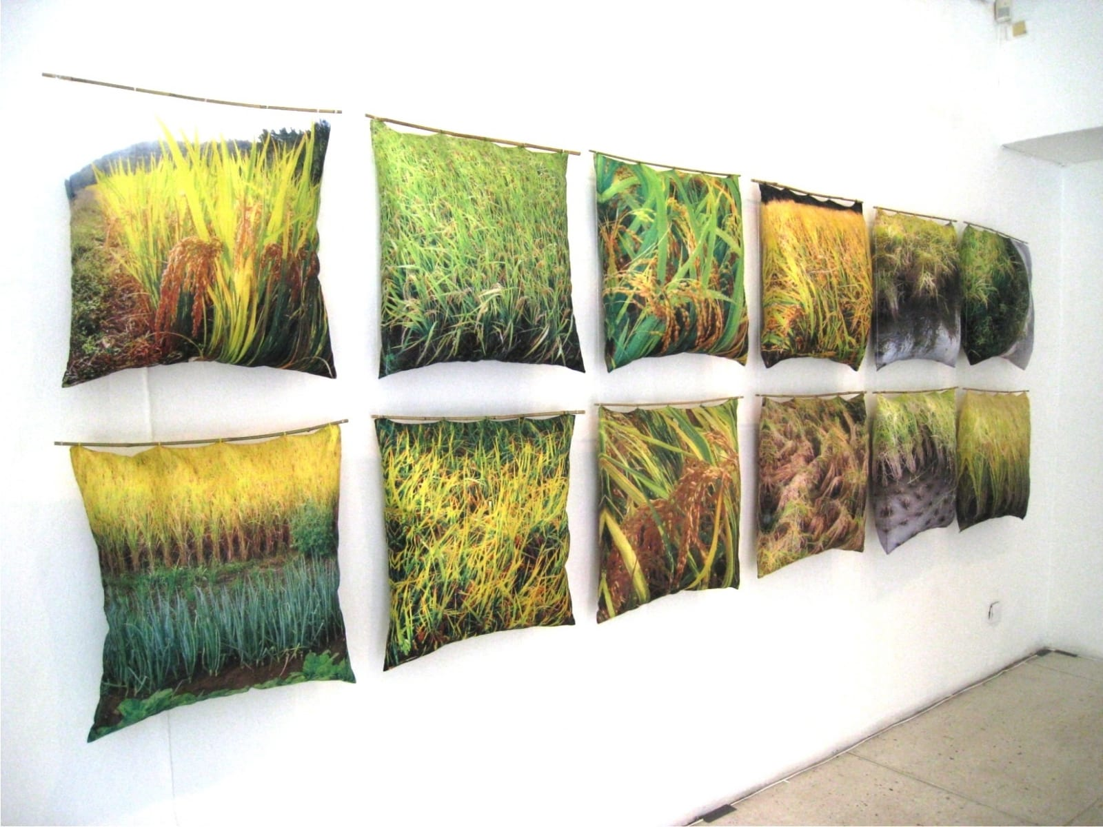 """RIISIPÕLDUDE MAA KOREA"" installatsioon patjadest 2011  20-50 patja mõõdus 60x60 cm  kangale trükitud Korea riisipõldude fotod, padjatäidis,bambuspulk <br/>""KOREA- THE LAND OF RICE FIELDS"" installation of pillows 2011  20-50 pillows measures 60x60 cm  photos of rice fields printed on canvas,pillowfill,bamboo"