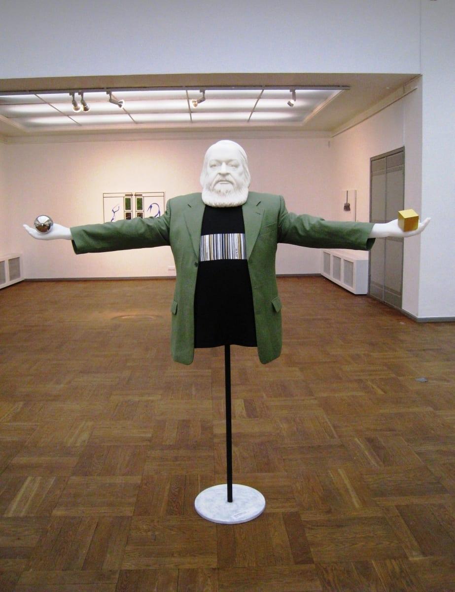 """TRIIPKOOD: LEONHARD LAPIN"" 2014 elusuuruses figuraalne installatsioon: kips, mannekeen,poroloon,puit,metall,kangas<br/> ""BARCODE:LEONHARD LAPIN"" 2014 lifesize figurative installation: plaster,textile,plastic,metal,wood"