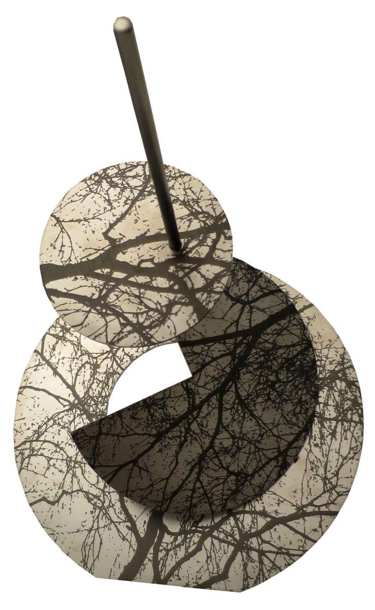 """""""RAAGUS III"""" 2016 lasergravering roostevabal terasel<br/> """"TREMBLED TREES III"""" 2016 lazer engraving on stainless steel"""