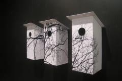 """""""KURED LÄINUD-KURJAD ILMAD, HANED LÄINUD- HALLAD MAAS, LUGED LÄINUD-LUMI TAGA..."""" 2014 heli-installatsioon: paber,puit<br/>  """"WAITING for the SPRING"""" 2014 sound-installation: paper,wood"""
