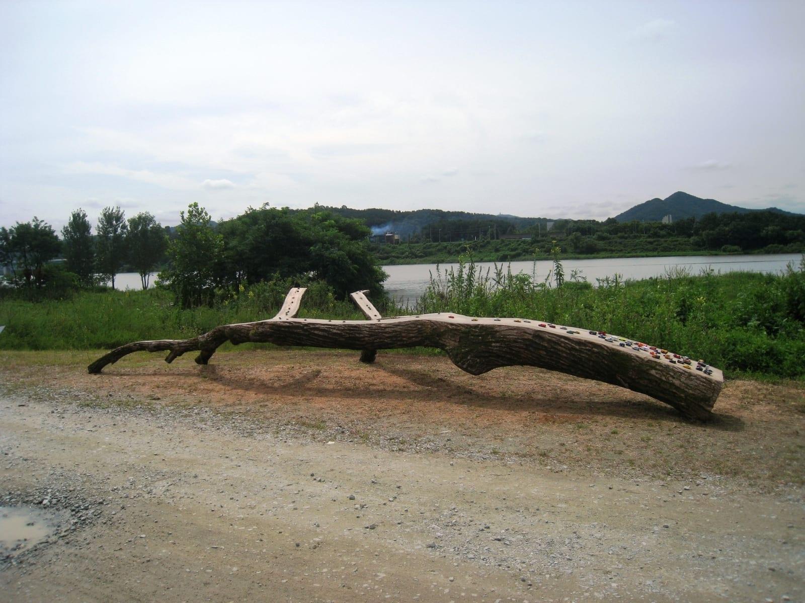 """""""ÜKS MAAILM"""" 2014 puu, plastikust putukad ja mänguautod p= 8 m - Geumgang Nature Art Biennale, Gongju, Lõuna Korea<br/> """"ONE WORLD"""" 2014 wood, plastic insects and cars  l= 8 m - Geumgang Nature Art Biennale, Gongju, South Korea"""